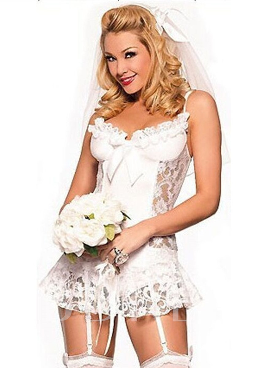 White Lace Bridal Wedding Set Sexy Costume
