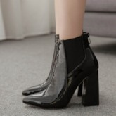 Pointed Toe Chunky Heel Back Zip Ankle Boots
