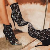 Rhinestone Stiletto Heel Back Zip Pointed Toe Ankle Boots