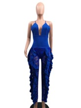Full Length Lace Plain Western Sexy Fashion Women's Jumpsuit