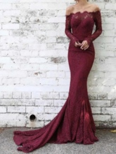 Long Sleeves Off-The-Shoulder Mermaid Evening Dress 2019