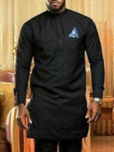 Mid-Length Long Sleeves Color Block Stand Collar African Fashion Straight Men's T-shirt