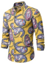 Floral Print Color Block Lapel Button Single-Breasted Casual Men's Shirt