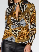 Geometric Print Long Sleeve Standard Women's Blouse