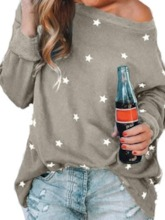 Star Mid-Length Round Neck Long Sleeve Loose Women's T-Shirt