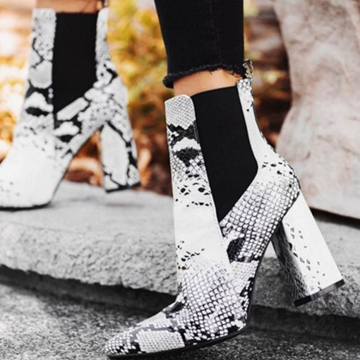 Serpentine Pointed Toe Side Zipper Chunky Heel Ankle Boots