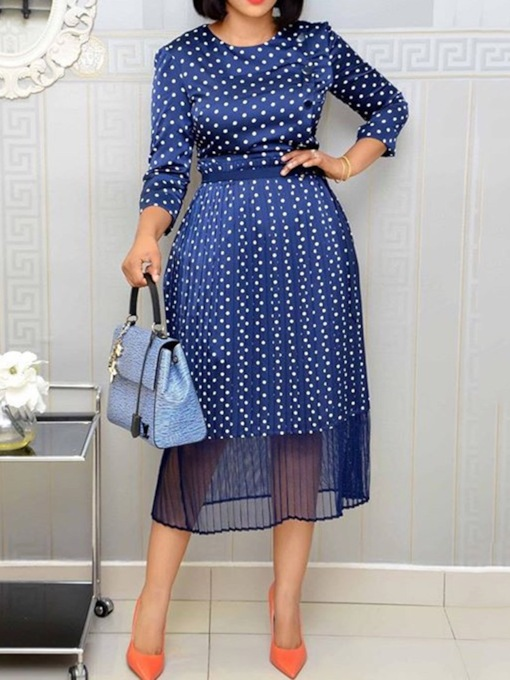 Print Round Neck Three-Quarter Sleeve Mid-Calf Polka Dots Women's Dress