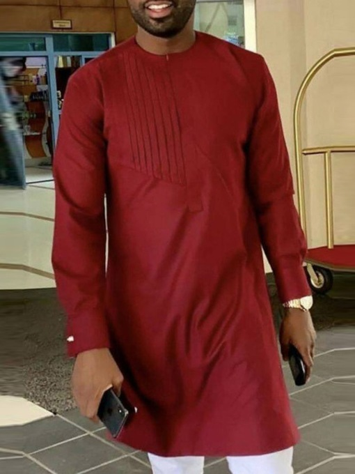 African Fashion Mid-Length Straight Plain Long Sleeves Men's T-shirt