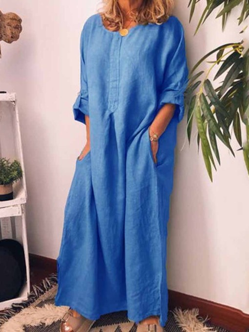 Long Sleeve Round Neck Ankle-Length Casual Women's Maxi Dress