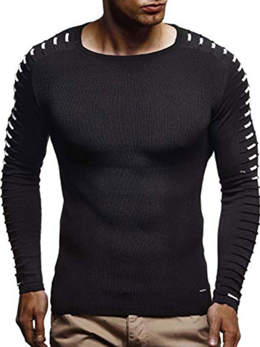 Micro-Elastic Color Block Round Neck Casual Long Sleeves Slim Men's T-shirt