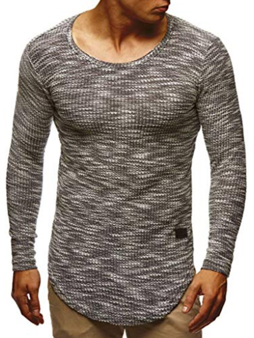 Color Block Round Neck Casual Long Sleeve Men's T-shirt