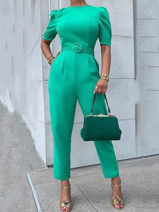 Green Ankle Length Plain Slim Women's Jumpsuit