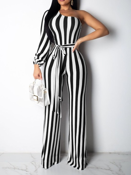 Stripe Full Length Lace-Up Fashion Slim Women's Jumpsuit