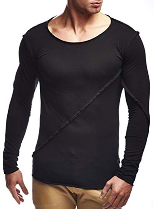 Casual Plain Round Neck Long Sleeve Men's T-shirt
