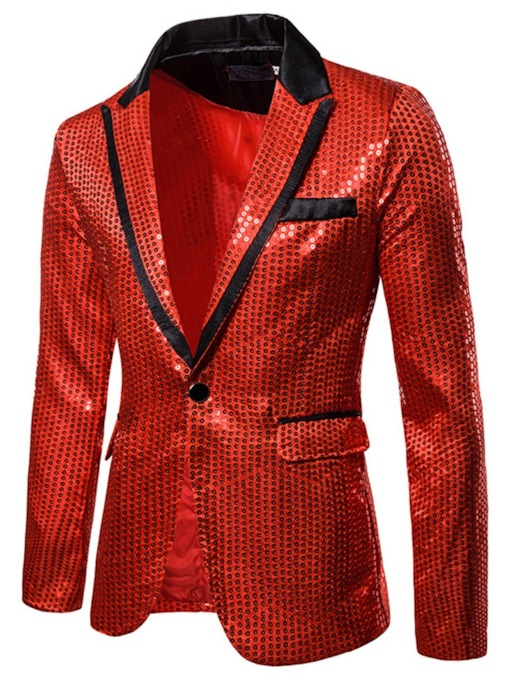 Sequins Print Color Block Patchwork Notched Lapel One Button Slim Fit Wedding Nightclub Men's leisure Suit