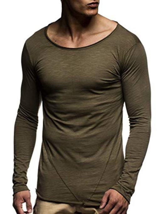 Plain Casual Round Neck Long Sleeve Men's T-shirt
