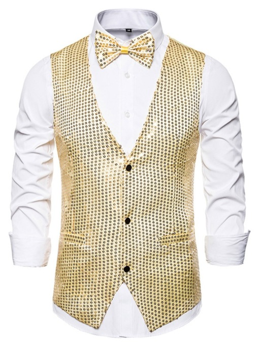 Fashion Multicolor Sequins Print V-Neck Plain Pockets Nightclub Wedding Men's Waistcoat