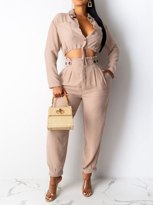 Pants Fashion Button Plain Single-Breasted Women's Two Piece Sets