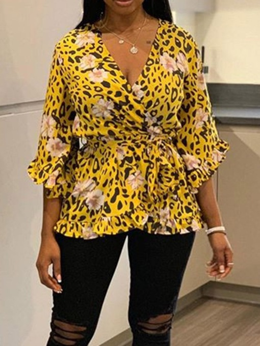V-Neck Print Floral Mid-Length Women's Blouse