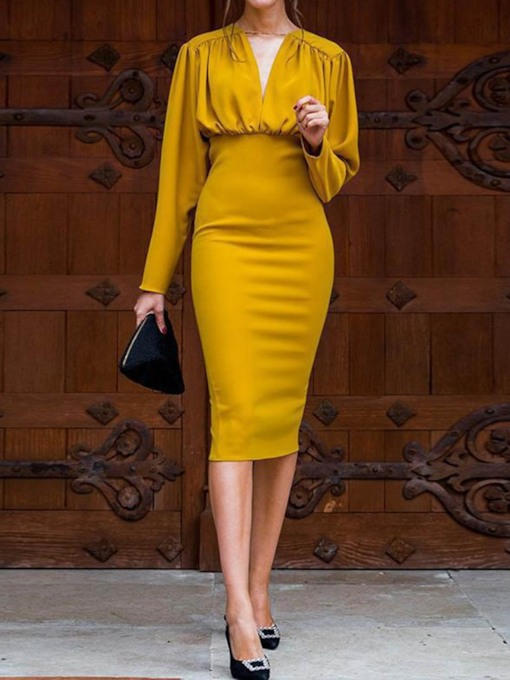 V-Neck Long Sleeve Pleated Mid-Calf Spring Women's Bodycon Dress