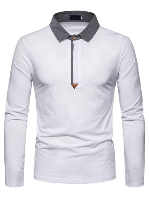 Casual Color Block Polo Neck Men's Polo Shirt