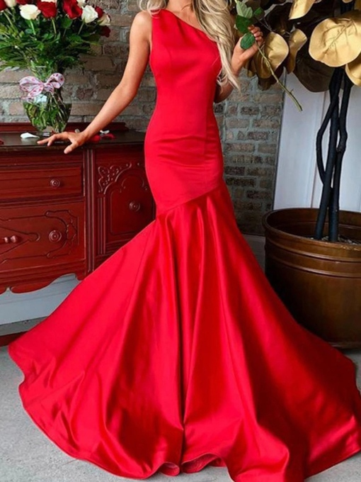 Mermaid One Shoulder Red Evening Dress 2019
