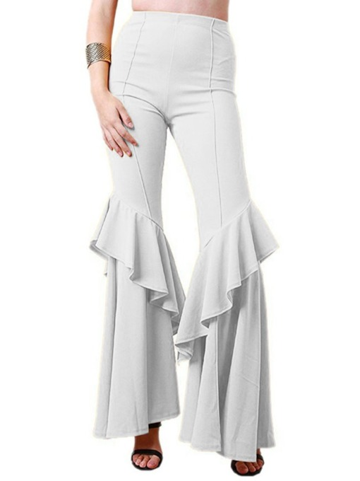Floral Slim Plain Flare Pants Women's Casual Pants