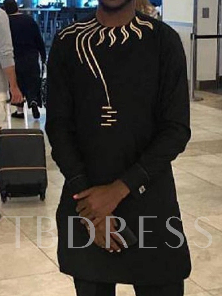 African Fashion Round Neck Straight Color Block Print Long Sleeve Men's T-shirt