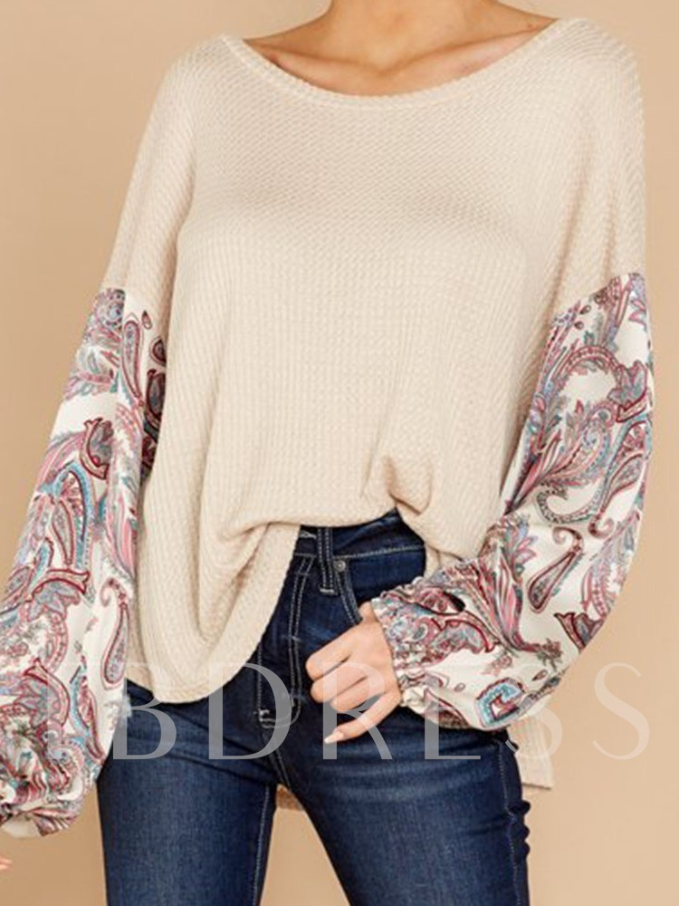 Plant Round Neck Mid-Length Long Sleeve Loose Women's T-Shirt