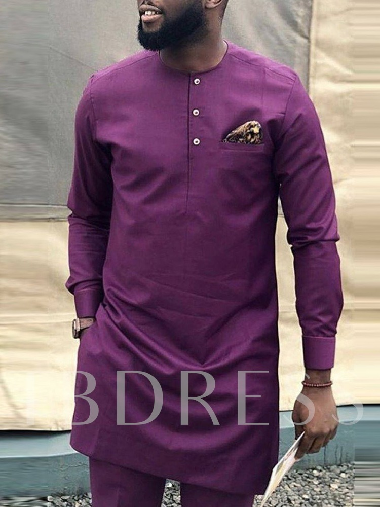 African Fashion Straight Plain Button Mid-Length Men's T-shirt