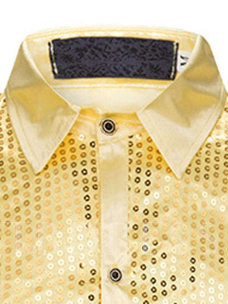 Plain Lapel Fashion Sequins Spring Men's Shirt