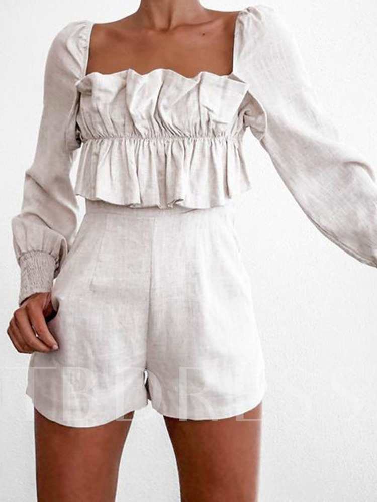 Fashion Zipper Shorts Plain Slim Women's Romper