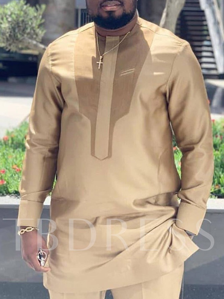 Color Block African Fashion Mid-Length Loose Men's T-shirt