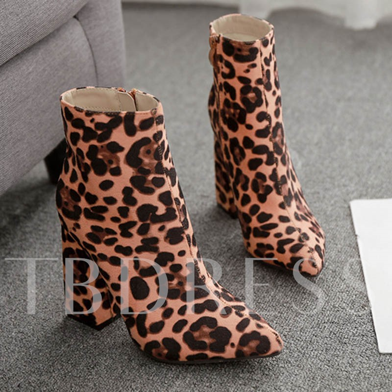 Chunky Heel Pointed Toe Side Zipper Leopard Platform Ankle Boots