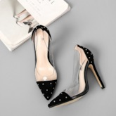 Pointed Toe Slip-On Rhinestone Stiletto Heel Sexy Pumps