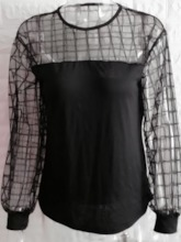 Round Neck Patchwork Plain Lantern Sleeve Long Sleeve Women's Blouse