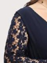 Ankle-Length V-Neck Long Sleeve Lace Pullover Women's Maxi Dress