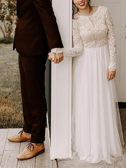 Scoop Neck Lace Long Sleeves Country Wedding Dress 2019 Scoop Neck Lace Long Sleeves Country Wedding Dress 2019