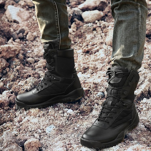 Round Toe Lace-Up Front Plain PU Mid-Calf Men's Martin Boots