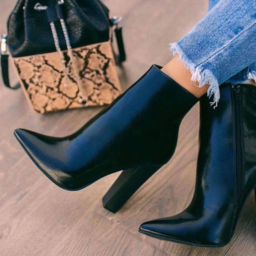 Chunky Heel Pointed Toe Side Zipper Plain Ankle Boots