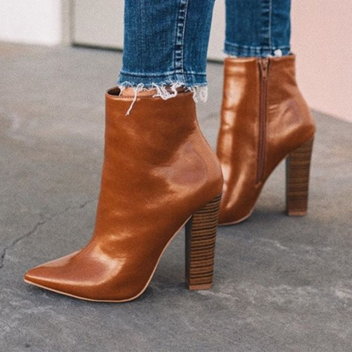 Plain Side Zipper Chunky Heel Pointed Toe Ankle Boots
