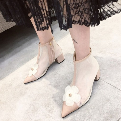 Floral Pointed Toe Side Zipper Chunky Heel Ankle Boots