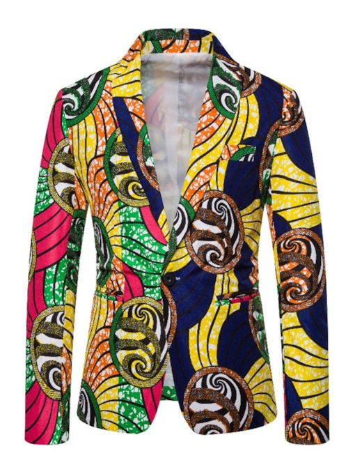 African Fashion Casual One Button Loose Color Block Men's leisure Suit