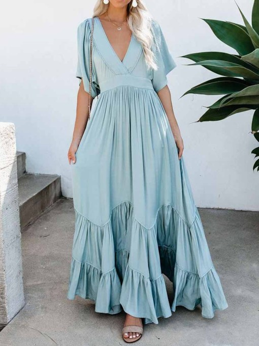 Floor-Length V-Neck Half Sleeve Pullover Women's Maxi Dress