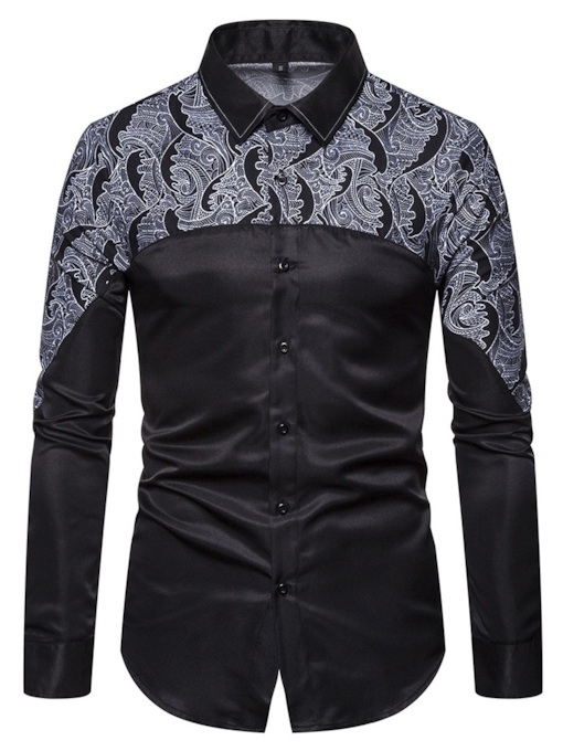 Fashion Color Block Print Single-Breasted Button Lapel Slim Long Sleeves Men's Shirt