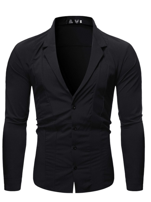 Fashion Notched Lapel Button Plain Polar Fleece Slim Fit Long Sleeves Men's Shirt