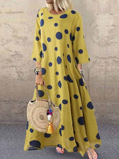 Round Neck Three-Quarter Sleeve Polka Dots Women's Maxi Dress