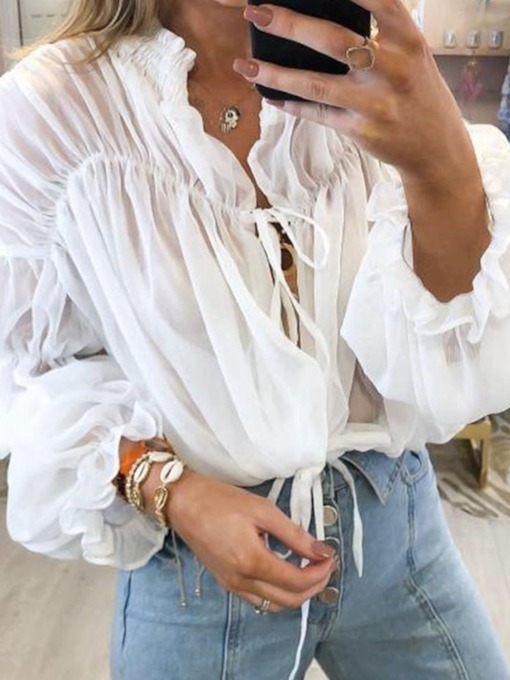 Plain Lace-Up V-Neck Short Women's Blouse