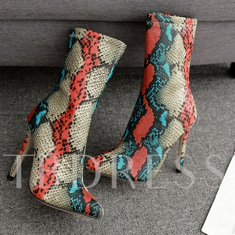 Stiletto Heel Color Block Serpentine Pointed Toe Ankle Boots