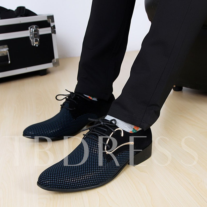 Color Block Lace-Up Pointed Toe Men's Business Shoes